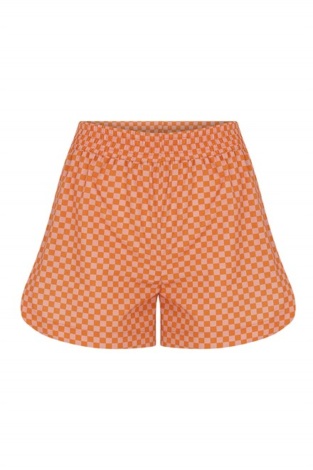 Marcela Elasticated Waistbanded Checked Cotton Short